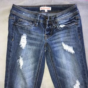 3/4 RIPPED DARK WASH JEANS